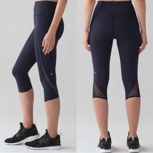 Lululemon Pace Perfect Crop Leggings Midnight Navy